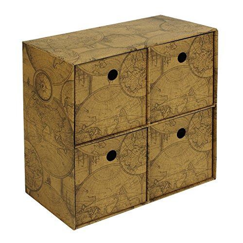 Deco Storage box, quattro cassetti, organizer, ufficio Cardboad Old Map, fiori Old map - Deco Storage Box