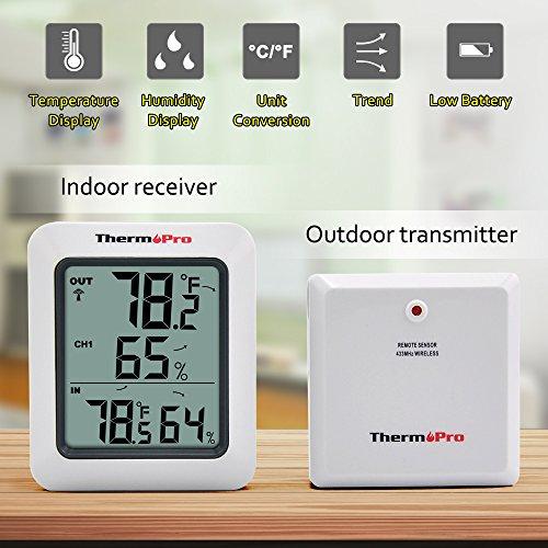 Thermopro TP60 Funk Thermo Hygrometer, Klima-Monitor mit Funk-Außensensor - 4