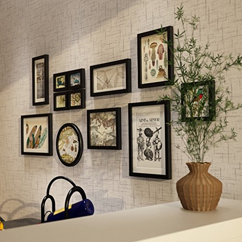 Rahmen Dekorative Massivholz Wand, moderne Foto Wall Home Hintergrund Dekoration Set 12Stück Foto Wand, Umweltschutz–Spray Paint Schwarz
