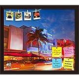 ArtzFolio Miami Beach, Florida, USA 2 Printed Bulletin Board Notice Pin Board cum Dark Brown Framed Painting 13.8 x 12inch