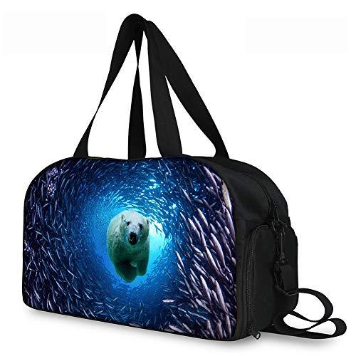 Lolyze Custom Bag,Mode Damen Es Travel Taschen Pudel Reisen Schultertasche Tasche Große Kapazität Eisbär ONE Size -