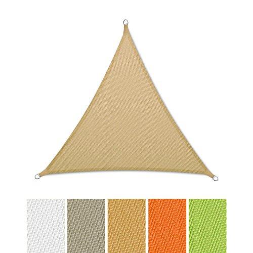 casa pura® Sonnensegel wasserabweisend imprägniert | Dreieck gleichseitig | Testnote 1.4 | UV Schutz | verschiedene Farben und Größen (sandfarben, 3x3x3m)