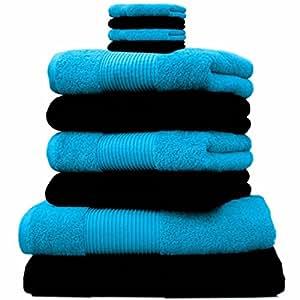 Liness 10 tlg Handtuch-Set 4 Handtücher 50x100 cm 2 Duschtücher Badetücher 70x140 cm 4 Waschhandschuhe 16x21 cm 100% Baumwolle schwarz türkis-petrol
