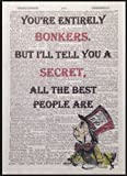 Mad Hatter Alice in Wonderland Bonkers Quote Print Vintage Dictionary Page Picture Art