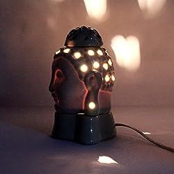 Gautama Buda eléctrico aroma quemador de aceite & té luz lámpara aromática aceite esencial difusor de aceite para incienso y quemador de aceite de la contaminación libre hecho a mano lámpara de Buda portavelas de eléctrico de cerámica (trabajo en–220V)
