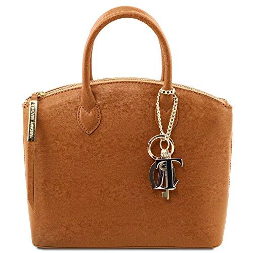 Tuscany Leather TL KeyLuck Borsa shopper in pelle Saffiano - Misura piccola Nude Cognac