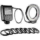 Neewer FC100 - Flash macro/anular para  cámaras SLR Canon, Nikon,Olympus, Pentax de lente de 52, 55, 58, 62, 67, 72, 77mm y Canon digital EOS Rebel T1i (500D), T2i (550D), XSI (450D),XTI (400D), XT (350D), 60D , 50D, 40D, 30D, 20D, 10D, 1D, 5D Mark 2, 5D Mark 3, Nikon D7000, D3200, D3100, D5100, D5000