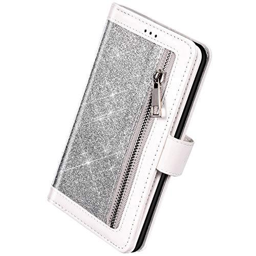 Herbests Kompatibel mit Huawei Mate 30 Handyhülle Handytasche mit 9 Kartenfächer Handschlaufe Leder Hülle Reißverschluss Magnet Luxus Bling Glänzend Multifunktions Flip Case,Silber