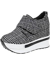 Damen Wedges mit Keilabsatz Sneakers Mode Freizeitschuhen Dicke Boden  Plateauschuhe Outdoor gemütlich Laufschuhe Grau Schwarz 76c94922c7