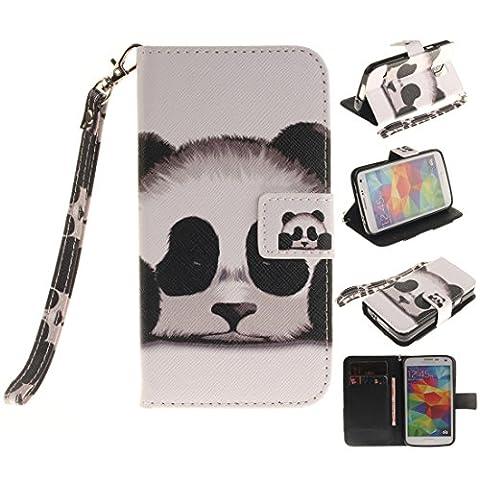 Nancen Samsung Galaxy S5 / SM-G900F (5,1 Zoll) Handytasche / Handyhülle. Flip Etui Wallet Case in Bookstyle - Premium PU Lederhülle Hülle Cover Mit Lanyard / Strap, Standfunktion, Kreditkarte und Brieftasche