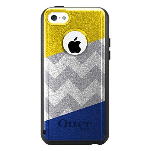 DistinctInk Fall für iPhone 5C Otterbox Commuter Gewohnheits-Fall Blau Gelb Block-Grauer Zickzack auf-Schwarz-Fall (5c Fällen Otter Box Blau)