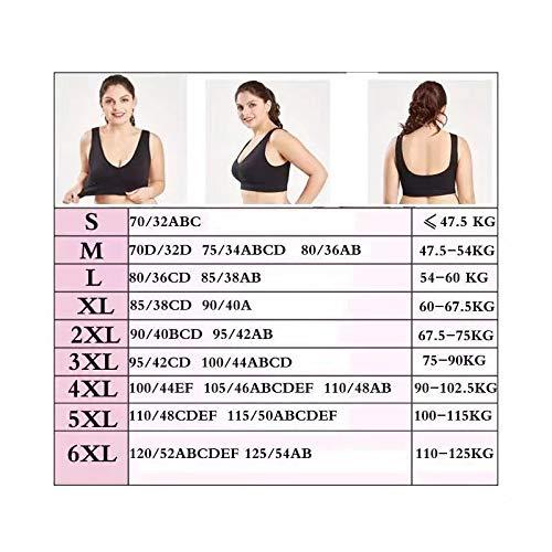 UKKD BHS für Frauen Push-Up-BH Übergröße BH für Frauen Dessous nahtlos mit Pads Sport BH Big Size Bralette Gr. XXXXXL, blau - 2