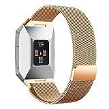 Upxiang Für Fitbit Ionic Magnetische Schlinge Lock Band Milanese Straps Edelstahl Magnet Watch Band (Rose Gold)