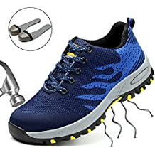 SUADEEX Mujer Hombre Zapatillas de Seguridad con Punta de Acero Protección Zapatos de Trabajo para Deporte