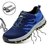 SUADEEX Arbeitsschuhe Herren Stahlkappe Damen Sicherheitsschuhe Leicht Atmungsaktiv Schutzschuhe Sportlich Turnschuhe Trekking Schuhe Traillaufschuhe- Gr. 38 EU (Etikettgröße: 39 EU), Blau (Textilien)