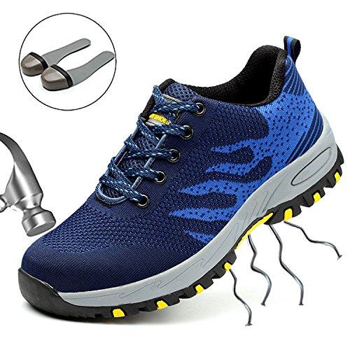 SUADEEX Arbeitsschuhe Herren Stahlkappe Damen Sicherheitsschuhe Leicht Atmungsaktiv Schutzschuhe Sportlich Turnschuhe Trekking Schuhe Traillaufschuhe- Gr. 39 EU (Etikettgröße: 40 EU), Blau