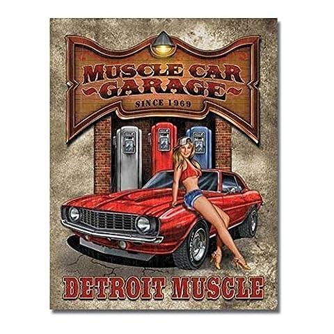 hotrodspirit - plaque muscle car garage camaro 69 et pin up pompe essence