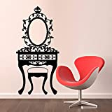 yaoxingfu Girl Bedroom Mirror Toilet Table Wall Sticker Black Hollow out Home Decor Vinyl Art Wall Mur  89cmx43cm