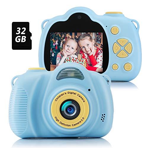 Fede Appareil Photo pour Enfant, Caméra Selfie Rechargeable Numérique pour Enfants, Ecran à 2,0 Pouces, Double Objectif HD 8MP/1080P, Coque en Silicone Résistant aux Chocs, avec Carte TF 32 Go(Bleu)