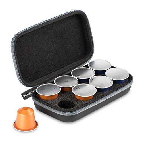 Estuche protector para Nespresso y cápsulas compatibles Estuche portátil para café expreso Estuche para café con cápsula Pu Con cáscara dura para 8 cápsulas (gris)