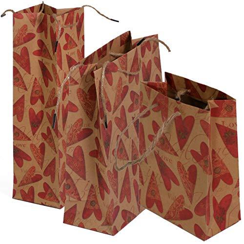 3er-Set Geschenktüten braun mit Herz - liebevolle Verpackung zu Valentinstag, Muttertag oder Geburtstag