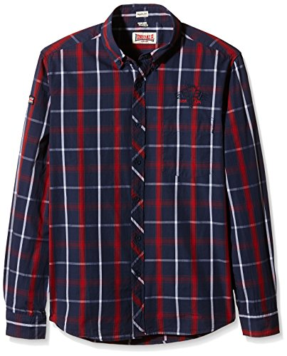 Lonsdale Herren Langarmshirt Hemd Saint Albans Navy/Dark Red/Ecru