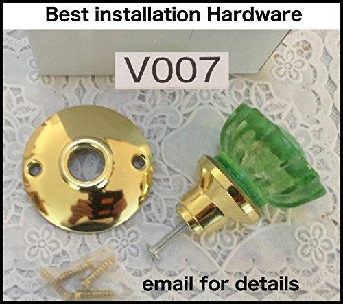 V007 Türknauf/Schubladenknauf aus poliertem Messing für Tür/Schubladen, jeder Stärke von Kristallknauf, 5,1 cm, Rosette aus massivem Messing gestempelt und überzogen V002