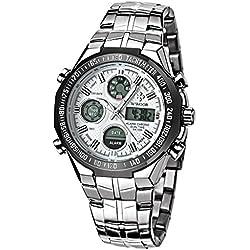 WWOOR Herren LED digital-analog Stoppuhr Datum und Woche Army Military Armbanduhr Weiß