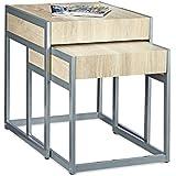 Relaxdays 10020338Juego NR. 2mesas, apilables, estructura en acero inoxidable lacado, con estante (tablero DM, 51x 48x 57cm, plata