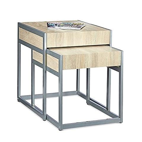 Relaxdays Tables gigognes lot de 2 tables d'appoint empilables H x l x P: 57 x 48 x 51 cm bois et métal table basse salon canapé salle à manger tabouret gain de place rangement moderne, nature,
