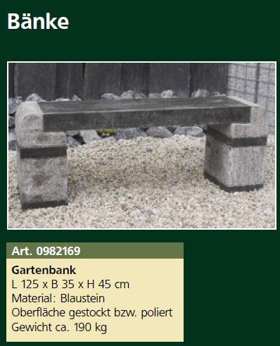 Gartenbank Zito, L 120 x B 30 x H 45 cm Blaustein Steinbank, ca. 190 kg