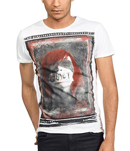 trueprodigy Herren T-Shirt Rundhals Ausschnitt Off White Kurzarm Slim Fit