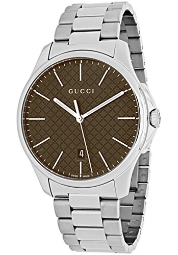 Reloj Gucci YA126317para hombre al cuarzo (batería) acero quandrante Marrón Correa Acero