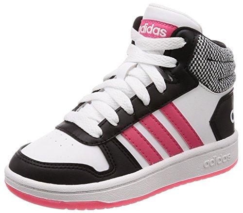 adidas Unisex-Kinder Hoops MID 2.0 Fitnessschuhe Schwarz (Negbas/Rosrea/Ftwbla 000) 30 EU - Mädchen Mid Sneakers