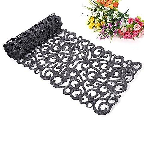Felt Table Runner, Hollow Flower Design Tablecloth Table Mats Table