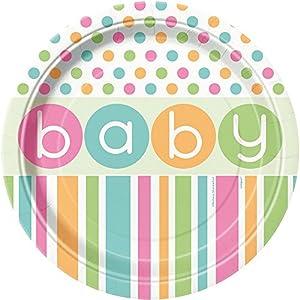 Partido Ênico 23 cm Platos ducha partido bebé (Paquete de 8, en colores pastel)