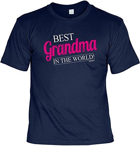 Oma T-Shirt für die liebste Oma Best Grandmom in the World Weihnachtsgeschenk Geschenk Geburtstagsgeschenk Navy-Blau