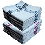 Space Fly Best Quality, Highly Absorbent Big Size 21X21inch 100% Cotton Multipurpose Kitchen, Chapatis Napkin and cleaning, Cloth, Duster (10 pieces_White, Red & Blue Striped)