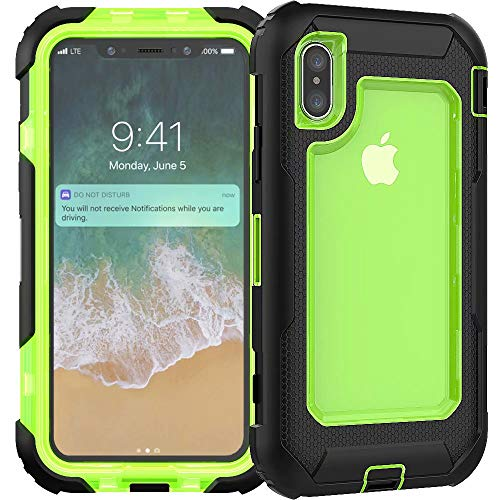 3C-LIFE iPhone8 Plus Heavy Duty Case, Triple Protective Layer Full Body Shockproof Bumper Case with Swivel Belt Clip and Kickstand für (Green) Cellular Connection Interface
