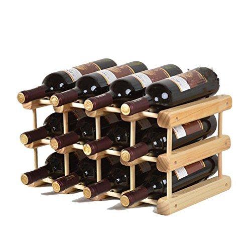 Stapelbare Holz-wein-racks (madewin DIY Wein Flasche Halter Rack Display Ständer Holz Aufbewahrung Stapelbar für 12Flaschen)