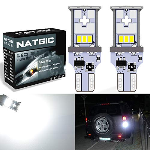 Ampoule LED NGCAT T15 921 - 1 800 lumens - 10 SMD - Ampoules LED 3020 CREE 912 T10 W16W utilisées pour les feux de marche arrière extérieurs d'automobile,10-16 V CC, blanc xénon (lot de 2).