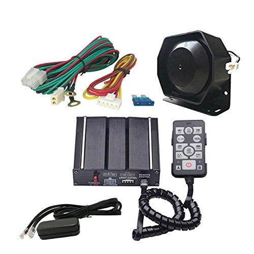 AS 100W Kit de sirène électronique A3E-SPK0021Lot de 3pièces, 20tonalités avec boîtier de sirène, Haut-parleur, Télécommande, Fonction PA, parfait pour Police, Ambulance, Véhicules des pompiers.