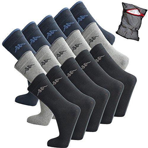 Calcetines de deporte Kappa - unisex - calcetines de ocio - calcetines de algodón - talla 39-46 disponible - calcetines de tenis, numero di scarpe:39 - 42, colore:10 Paar Mix (Schwarz-Navy)