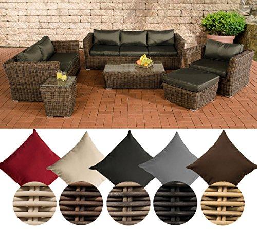 CLP Polyrattan-Sitzgruppe MANDAL inklusive Polsterauflagen | Garten-Set bestehend aus einem Loungetisch, einem 2er-Sofa, einem 3er-Sofa, einem Sessel, einem Fußhocker und einem Beistelltisch| In verschiedenen Farben erhältlich Rattan Farbe perlweiß, Bezugfarbe: Terrabraun