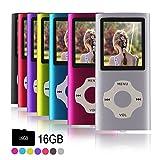 Ueleknight MP3-Player MP4-Player mit Einer 16G Micro SD-Karte, Wiedergabe 16GB Musik-Player Hi-Fi-Sound, tragbarer digitaler Musik-Player mit FM-Radio und Voice Recorder Funktion -Silber