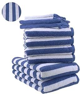 10 tlg. Badetuch Duschtuch Handtücher Set STREIFEN Farbe Royal Blau 100% Baumwolle 2 Duschtücher 4 Handtücher 2 Gästetücher 2 Waschhandschuhe