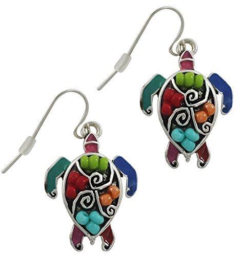 Sea Turtle Fashion Earrings | Silver Plated Mosaic Turtle Seed Bead Drop Earrings for Women or Girls