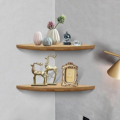 Tresbro - Estante de esquina para montaje en pared, estantes de esquina flotantes, unidad de almacenamiento organizador de decoración para ducha, oficina, dormitorio, baño, cocina, material de bambú (juego de 2)