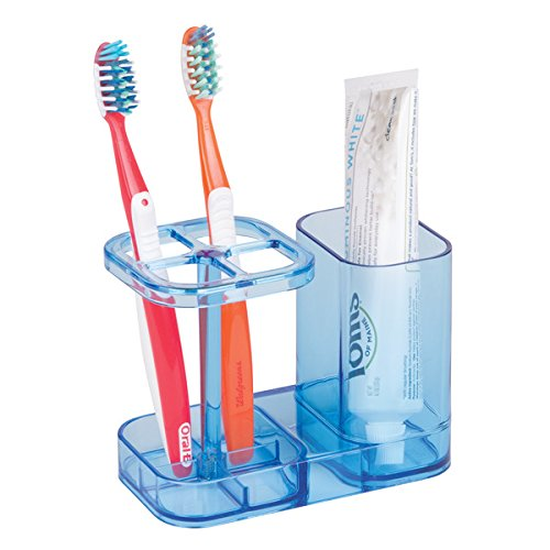 Moderner Zahnbürstenhalter (mDesign Zahnbürstenhalter - die ideale Halterung für Zahnbürsten - extra Fach für Zahnpasta - moderner Zahnputzbecher - Farbe: Blau / durchsichtig)