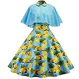 ASHOP Damen-Sommer-Zitronendruck-großes Anhänger-Kleid Blau M